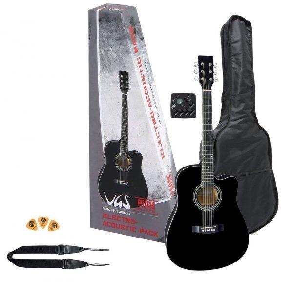 VGS E-Akustikgitarre Electro-Acoustic Pack Gitarre schwarz