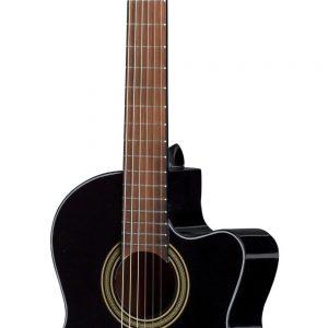 E-Akustik Klassikgitarre Student Schwarz E-Akustik schwarz